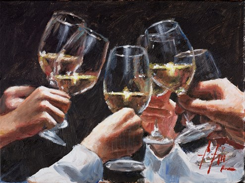 Study For a Better Life II (With White) by Fabian Perez - Original Painting on Stretched Canvas